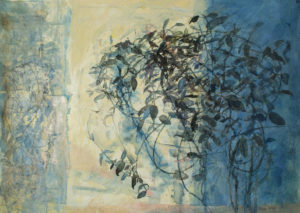 9. Crowe, Reflected, Silhouetted (Stephanotis), mixed media on handmade paper, 22 x 30 inches
